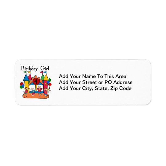 Big Bounce Girl 4th Birthday T-shirts and Gifts Return Address Label
