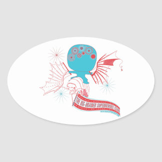 Big-Brained Superhero Da Vinci Flying Avatar Oval Sticker