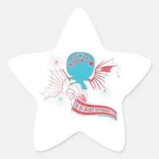 Big-Brained Superhero Da Vinci Flying Avatar Star Sticker