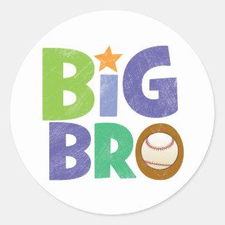 Big Bro Baseball Round Sticker