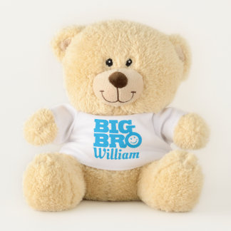 Big bro smilie name blue name personalized teddy bear