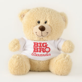 Big bro smilie name red name personalized teddy bear