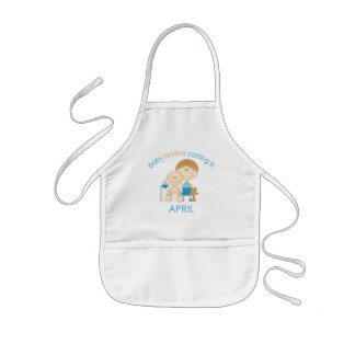Big Brother Baby Brother Due in April Kids Apron