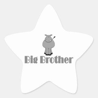 Big Brother Cute Hippo Star Sticker