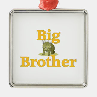 Big Brother Dinosaur 3 Silver-Colored Square Ornament