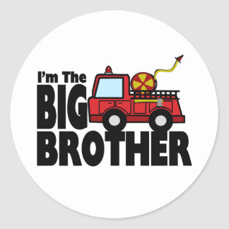Big Brother Fire Truck Classic Round Sticker