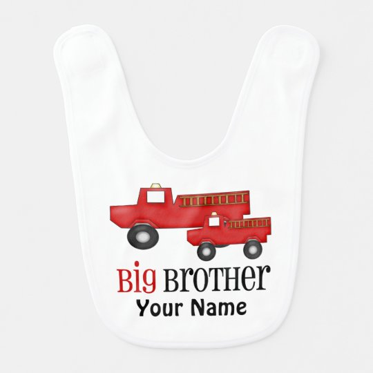 Big Brother Fire Truck Personalized Bib
