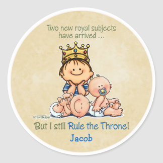 Big Brother of Twins Round Sticker