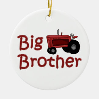 Big Brother Red Tractor Round Ceramic Ornament