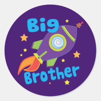 Big Brother Rocket Ship Sibling Sets Round Sticker
