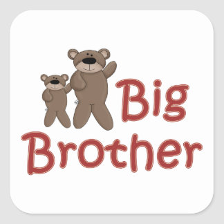Big Brother Teddy Bears Square Stickers