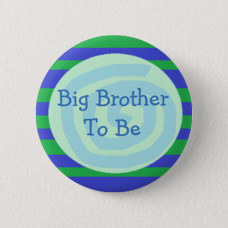 Big Brother to be Green & Blue Baby Shower Button