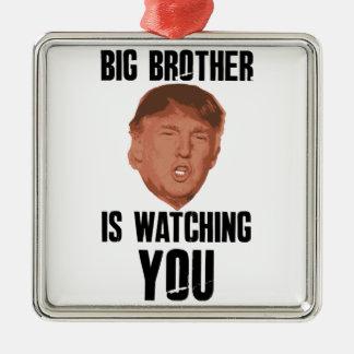 Big Brother Trump Silver-Colored Square Ornament