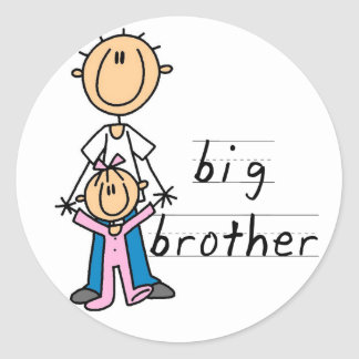 Big Brother with Baby Sister Tshirts and Gifts Round Sticker