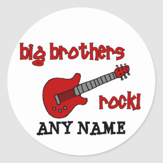Big Brothers Rock! with guitar Round Sticker