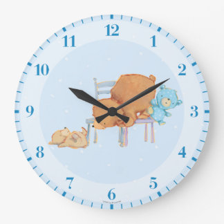 Big Brown Bear, Calico, & Floppy Share Two Chairs Wall Clock