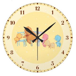 Big Brown Bear & Friends Share Four Chairs Clock
