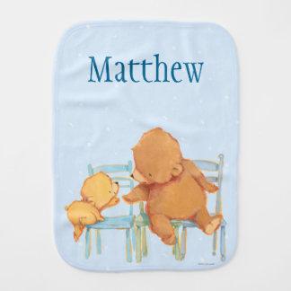 Big Brown Bear Helps Little Yellow Bear Burp Cloth