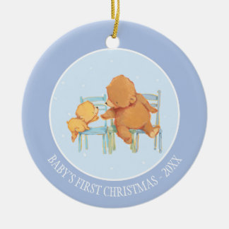 Big Brown Bear Helps Little Yellow Bear Ceramic Ornament