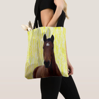 Big Brown Chestnut Horse Shadows, Tote Bag