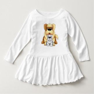 Big Brown Dog Fluffy Doggy Cartoon Illustration Dress