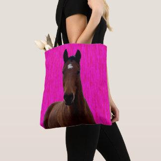 Big Brown Horse On Pink, Tote Bag