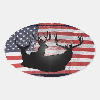 Big bucks and Old Glory Oval Sticker