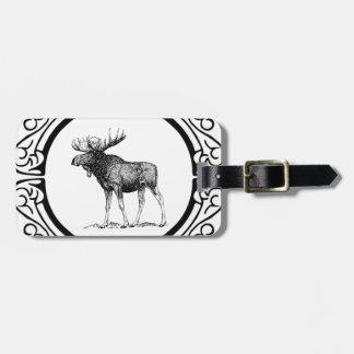 big bull moose art luggage tag