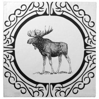 big bull moose art napkin