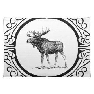 big bull moose art placemat