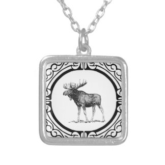 big bull moose art silver plated necklace