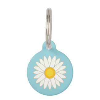 Big Cartoon Daisy Flower With Custom Info Pet Name Tags
