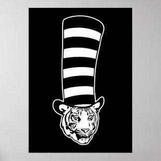 Big Cat in Striped Top Hat Poster