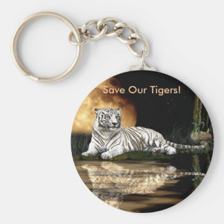 Big Cat Rare White Tiger Collection Keychain