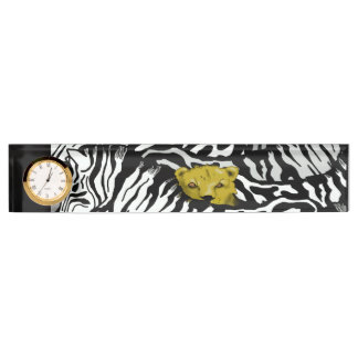 BIG CAT, ZEBRA AND LION by Slipperywindow Desk Nameplate