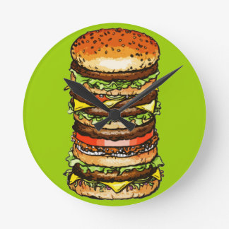 Big Cheeseburger Round Clock