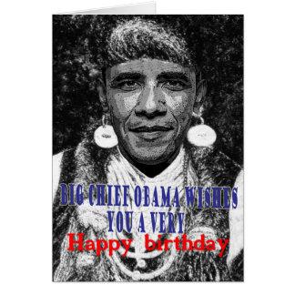big chief obama wishes you a happy birthday card