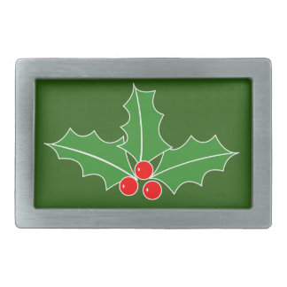 Big Christmas belt buckle with holly leaves logo