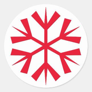 Big Christmas Red Snowflake Kids Art Craft Holiday Classic Round Sticker