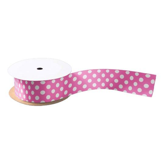 Big Circles Design Hot Pink Satin Ribbon