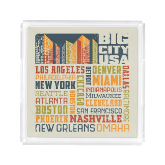Big City USA Typography Collage Acrylic Tray