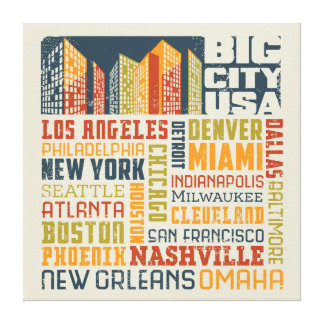 Big City USA Typography Collage Canvas Print