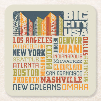 Big City USA Typography Collage Square Paper Coaster