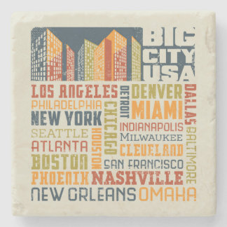 Big City USA Typography Collage Stone Beverage Coaster