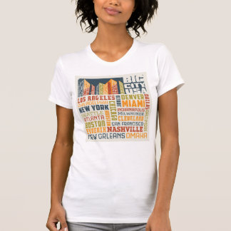 Big City USA Typography Collage T-Shirt