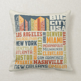 Big City USA Typography Collage Throw Pillow