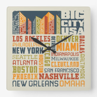 Big City USA Typography Collage Wall Clock