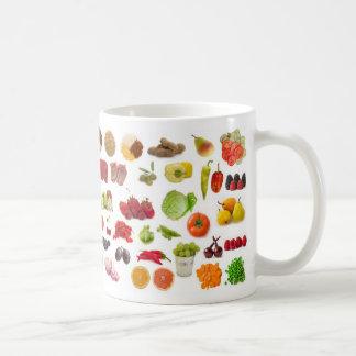 big collection of fruits and vegetables coffee mug