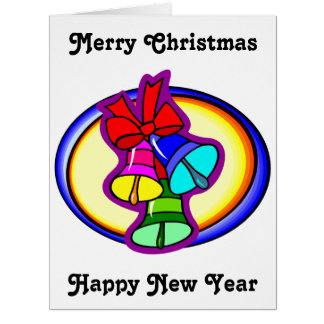 Big Colorful Merry Christmas Bells Big Greeting Card