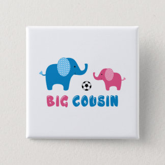 Big Cousin Elephant soccer 2 Inch Square Button